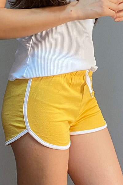 Kadın Sarı Spor Mini Lastikli Sweatshirt Şort