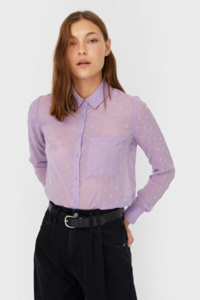 Kadın Lila Yarı Transparan Gömlek 06083592