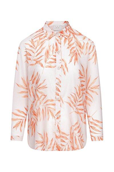 Kadın Yaprak Prıntlı Gömlek