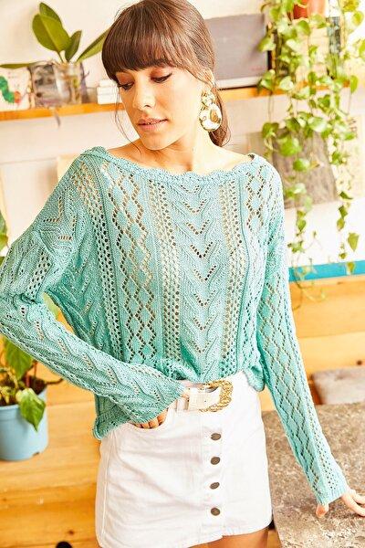 Kadın Mint Yeşili Kayık Yaka Baharlık Triko Bluz BLZ-19001070