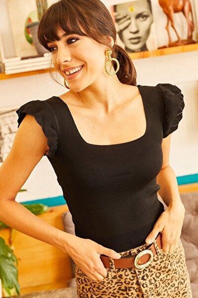 Kadın Siyah Kolu Fırfırlı Yazlık Triko Bluz BLZ-19001035