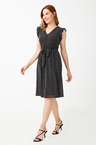 Kadın Siyah Kolu Fırfırlı Elbise