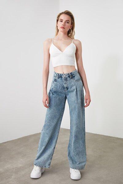 Mavi Cep Detaylı Yüksek Bel Wide Leg Jeans TWOSS20JE0143