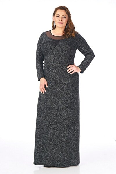 Kadın Gri Simli Kumaş Büyük Beden Abiye Elbise