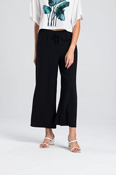 Kadın Siyah Beli Lastikli Aeorobin Pantolon