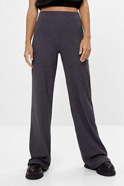 Kadın Gri Geniş Paça Pantolon