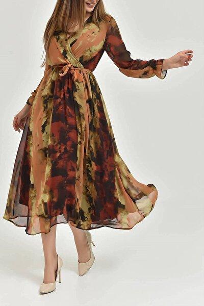 Kadın Kahverengi Desenli Şifon Elbise