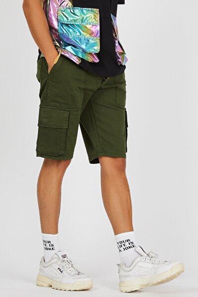 Erkek Yeşil Kargo Bermuda Kapri Şort