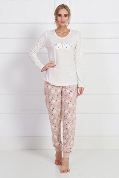 Kadın Uzun Kol Normal Beden Pamuklu Pijama Takım