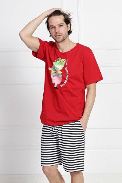 Erkek Kısa Kol Normal Beden Pamuklu Şortlu Pijama Takım