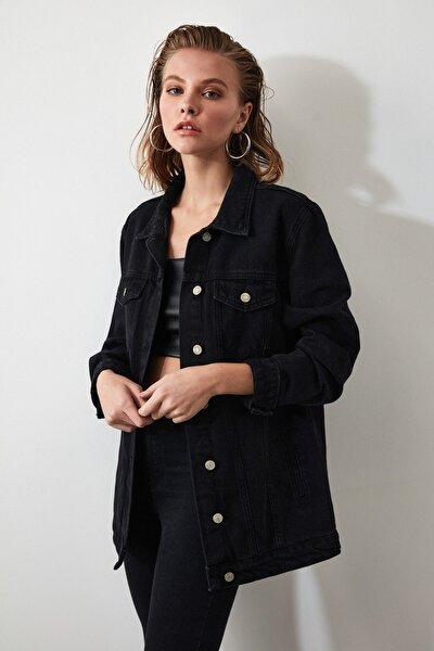 Siyah Uzun Basic Denim Ceket TWOAW20CE0082