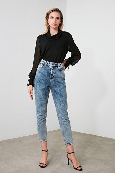 Indigo Asit Yıkamalı Yüksek Bel Mom Jeans TWOSS20JE0164