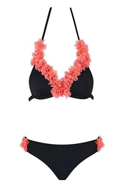 Üçgen Çiçekli Bikini Takım