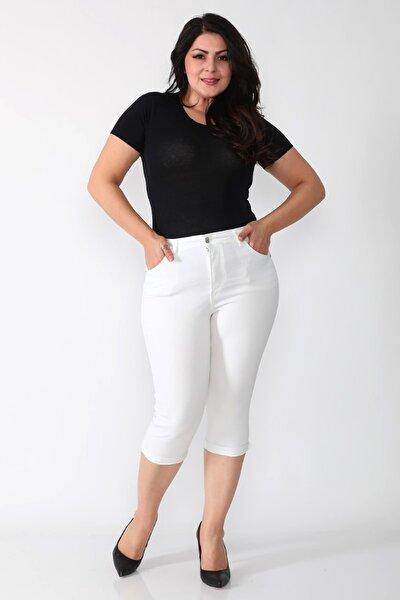 Kadın Beyaz Yüksek Bel Toparlayıcı Kot Kapri Jean