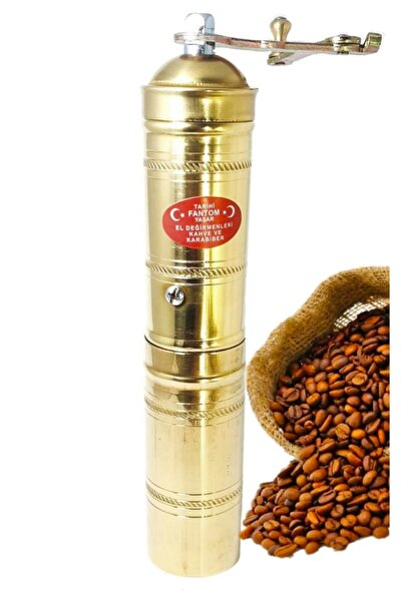 Pirinç Işlemeli Uzun Sade Kahve Öğütücü El Değirmeni Ln-378