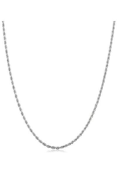 925 Ayar Gümüş Burgulu Halat Model Rodyumlu Gümüş Zincir Elmas Kesim Italyan