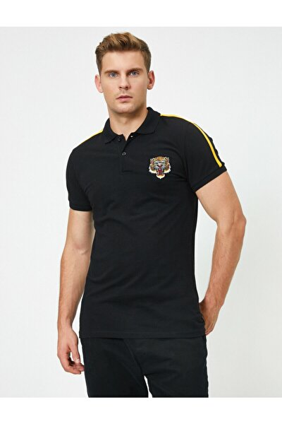 Erkek Siyah Pamuklu Kisa Kollu Polo Yaka T-shirt