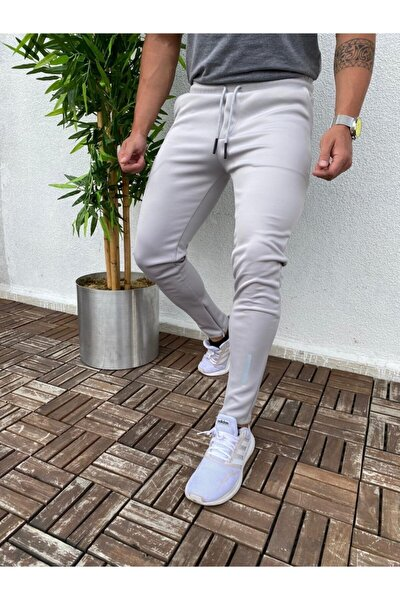 Erkek Açık Gri Outdoor Basic Slim Fit Eşofman Altı