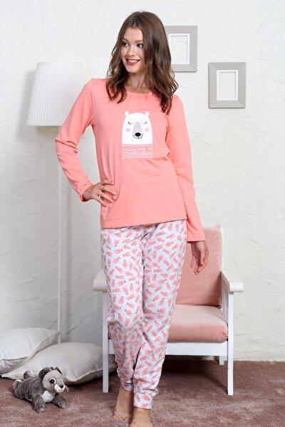 Kadın  Pembe  Uzun Kol Normal Beden Pamuklu Pijama Takım