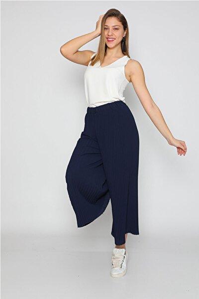 Kadın Lacivert Pliseli Astarlı Pantolon Etek