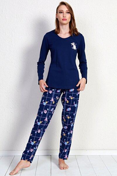 Kadın Lacivert Uzun Kol Pamuklu Pijama Takım