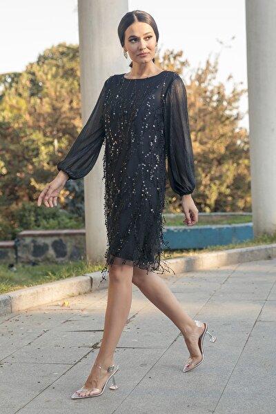 Kadın Siyah Payet İşlemeli Abiye Elbise