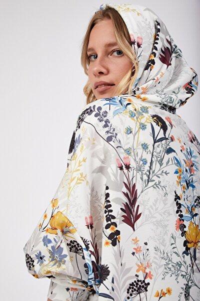Kadın Safran Desenli Oversize Sweat Elbise  DD00511