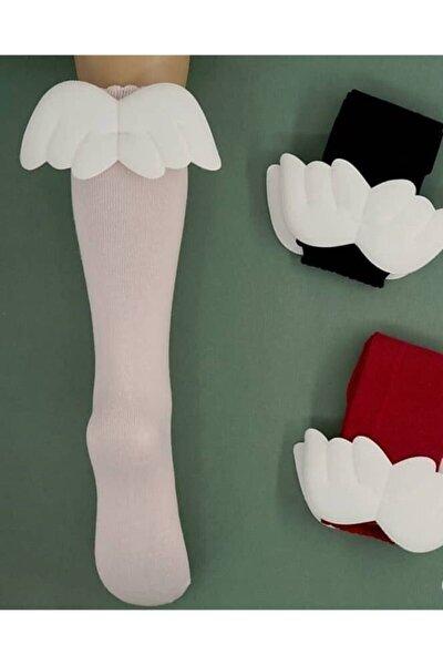 Kız Çocuk Pudra Diz Altı Melek Kanatlı Çorap