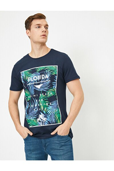 Erkek Lacivert Yazılı Baskılı T-shirt