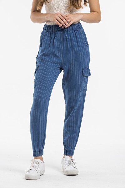 Kadın Mavi Çizgili Kot Jogger Pantolon