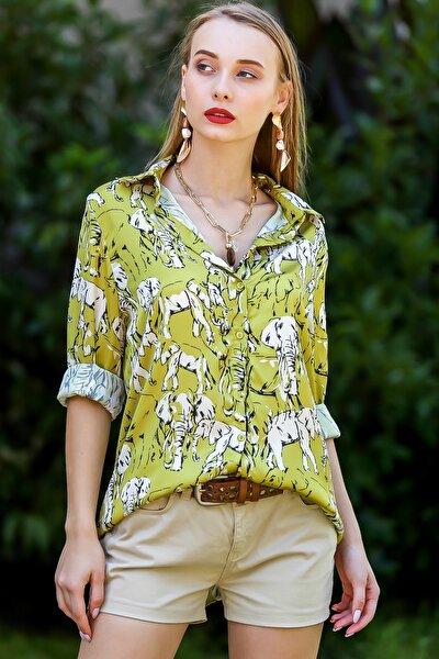 Kadın Yağ Yeşili Afrika Filleri Desenli Saten Gömlek M10010400Gm99519