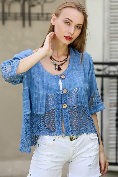 Kadın Mavi Vintage Dantel Detaylı Yıkamalı Ceket M10210100Ce99340