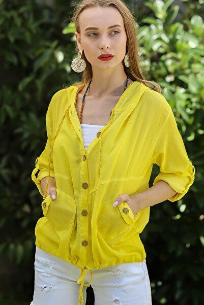 Kadın Neon Sarı Casual Kapüşonlu Düğmeli Beli Ip Detaylı Büzgülü Yıkmalı Ceket M10210100Ce99339