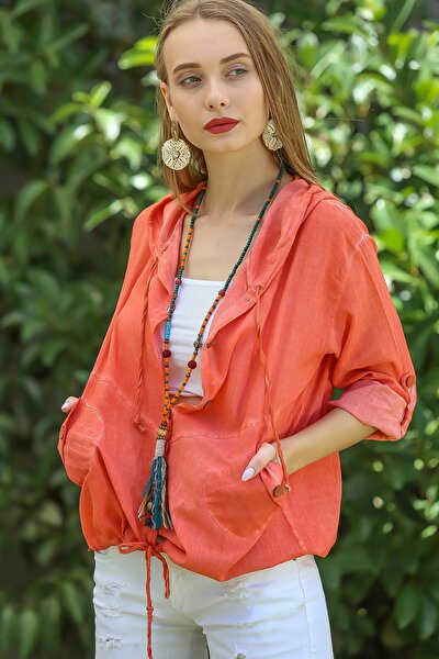 Kadın Turuncu Casual Kapüşonlu Düğmeli Beli Ip Detaylı Büzgülü Yıkmalı Ceket M10210100Ce99339