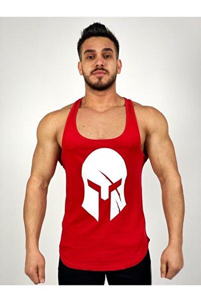 Erkek Kırmızı Sparta Baskılı Fitness Atleti