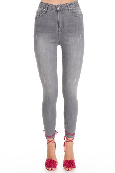 Kadın Gri Skinny Fit Yüksek Bel Pantolon