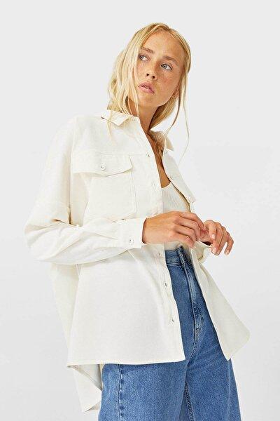 Kadın Beyaz Fitilli Kadife İnce Ceket 06042532