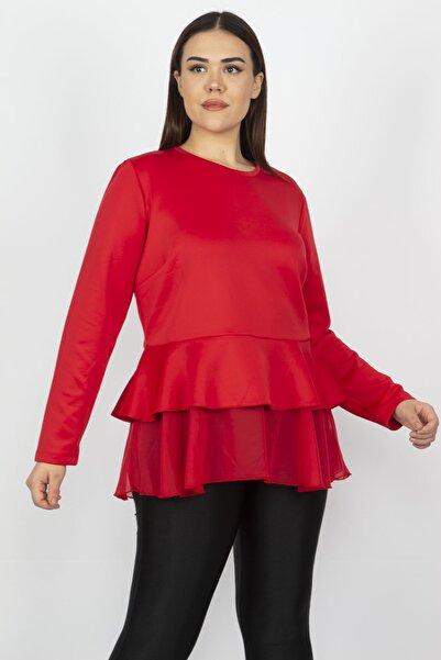 Kadın Kırmızı Etek Ucu Volanlı Bluz 65N17280