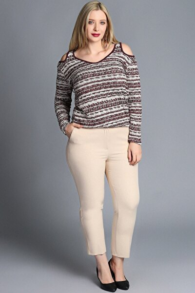 Kadın Bej Büyük Beden Klasik Kumaş Pantolon