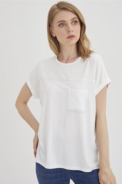Kadın Ekru Taş Detaylı Bluz