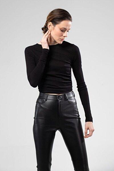 Kadın Siyah Sırtı Açık Bluz