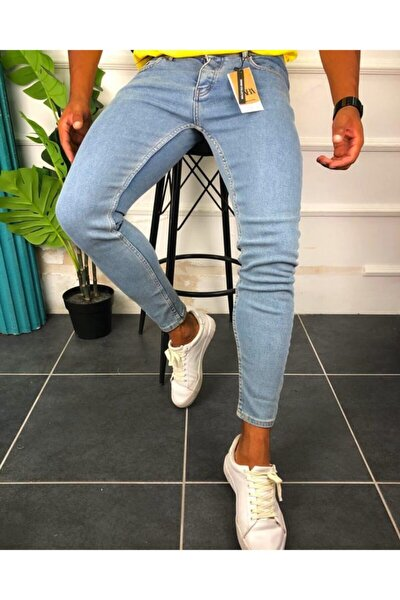 Erkek Mavi Denim Likralı Düz Basic Skiny Kot Pantolon
