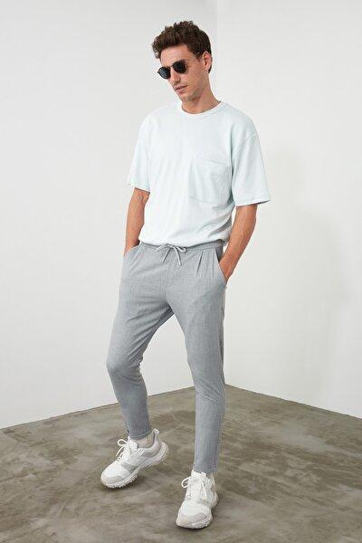 Gri Erkek Beli Lastikli Slim Fit Pantolon TMNAW21PL0107