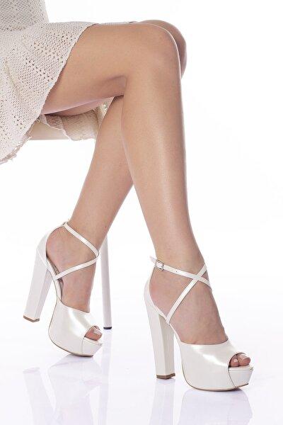 Sedef Cilt Kadın Yüksek Topuklu Abiye Gelinlik Ayakkabı