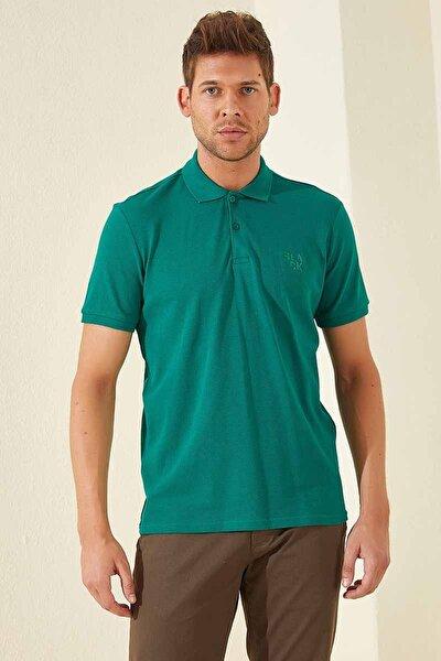 Klasik Nakışlı Polo Yaka Koyu Yeşil Erkek Tshirt