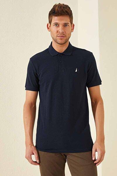Klasik Yelken Nakış Polo Yaka Lacivert Erkek Tshirt