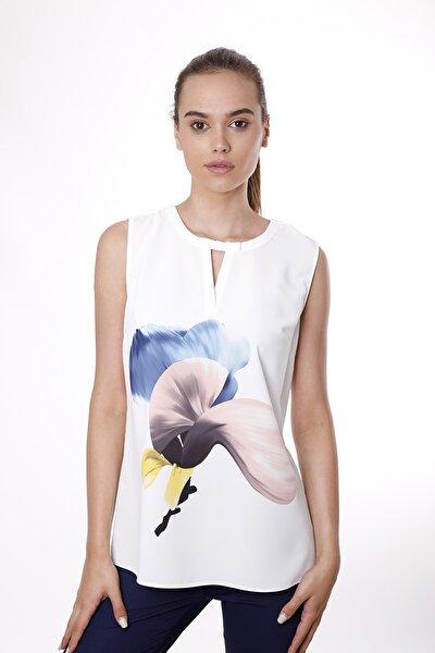 Kadın Pudra Magnolya Çiçek Desenli Kolsuz Bluz