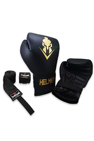Siyah Helmet Boks Eldiveni Ve Boks Bandajı Seti