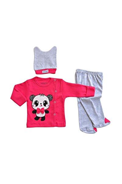 Kız Bebek Takım Yeni Doğan Zıbın 3lü Takım Papyonlu Panda