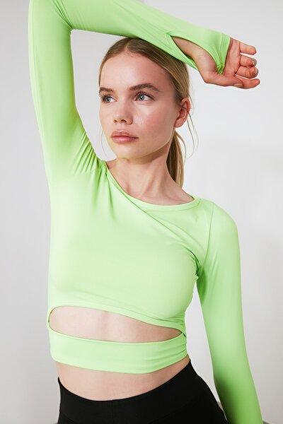 Yeşil Bel Detaylı Crop Spor Bluz TWOAW21BZ0156